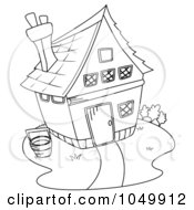 Royalty Free RF Clip Art Illustration Of A Coloring Page Outline Of A Barn House by BNP Design Studio