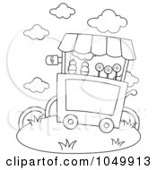 Royalty Free RF Clip Art Illustration Of A Coloring Page Outline Of An Ice Cream Cart