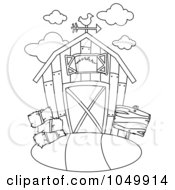 Royalty Free RF Clip Art Illustration Of A Coloring Page Outline Of A Barn