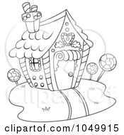 Royalty Free RF Clip Art Illustration Of A Coloring Page Outline Of A Candy House by BNP Design Studio