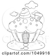 Royalty Free RF Clip Art Illustration Of A Coloring Page Outline Of A Cupcake House by BNP Design Studio