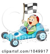 Royalty Free RF Clip Art Illustration Of A Boy Driving A Go Kart