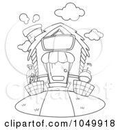 Royalty Free RF Clip Art Illustration Of A Coloring Page Outline Of A Pet House by BNP Design Studio
