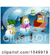 Royalty Free RF Clip Art Illustration Of A Snowman Family Snowshoeing