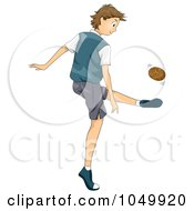Royalty Free RF Clip Art Illustration Of A Boy Playing Sepak Takraw