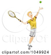 Royalty Free RF Clip Art Illustration Of A Teen Boy Playing Tennis