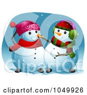 Royalty Free RF Clip Art Illustration Of A Snowman Putting A Carrot On His Friends Nose