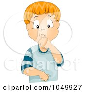 Royalty Free RF Clip Art Illustration Of An Insecure Boy Sucking His Thumb