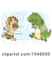 Royalty Free RF Clip Art Illustration Of A Caveman Running From A Dinosaur