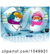 Royalty Free RF Clip Art Illustration Of A Snowman Couple Ice Fishing