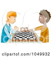 Royalty Free RF Clip Art Illustration Of Teen Boys Playing Chess