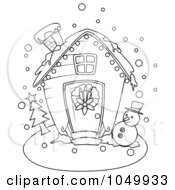 Royalty Free RF Clip Art Illustration Of A Coloring Page Outline Of A Winter Christmas House by BNP Design Studio