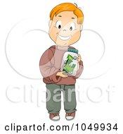 Royalty Free RF Clip Art Illustration Of A Happy Boy Holding A Money Jar