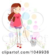 Royalty Free RF Clip Art Illustration Of A Stick Girl Walking Her Dog
