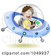 Royalty Free RF Clip Art Illustration Of A Black Boy Operating A Flying Saucer