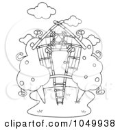 Royalty Free RF Clip Art Illustration Of A Coloring Page Outline Of A Tree House by BNP Design Studio