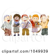 Royalty Free RF Clip Art Illustration Of A Group Of Kids In Pirate Costumes