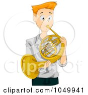 Royalty Free RF Clip Art Illustration Of A Teen Boy Playing A French Horn