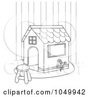 Royalty Free RF Clip Art Illustration Of A Coloring Page Outline Of A Play House