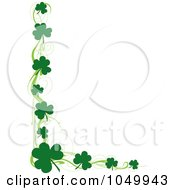 St Patricks Day Border Of Green Swirls And Shamrocks