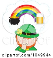 Royalty Free RF Clip Art Illustration Of A Leprechaun Imagining Beer And A Pot Of Gold On Opposite Ends Of The Rainbow