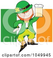 Leprechaun Holding Beer Over An Irish Flag