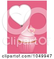Royalty-Free (RF) Clip Art Illustration of a Pink Cupcake With Heart Label Over Pink by elaineitalia