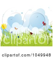 Spring Background Of Grass Butterflies And Flowers Against Clouds