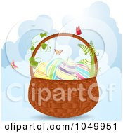 Royalty Free RF Clip Art Illustration Of An Easter Basket With Eggs And Butterflies Over Clouds by elaineitalia
