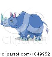 Royalty Free RF Clip Art Illustration Of A Blue Rhino by Pushkin