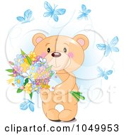 Royalty Free RF Clip Art Illustration Of A Sweet Teddy Bear Holding Flowers And Surrounded By Blue Butterflies by Pushkin
