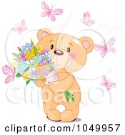 Royalty Free RF Clip Art Illustration Of A Teddy Bear Holding Flowers And Surrounded By Pink Butterflies by Pushkin