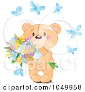 Royalty Free RF Clip Art Illustration Of A Teddy Bear Holding Flowers And Surrounded By Blue Butterflies by Pushkin