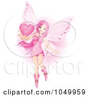 Royalty Free RF Clip Art Illustration Of A Fairy Holding A Pink Valentine Heart