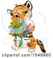 Baby Tiger Holding Flowers