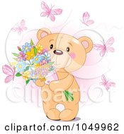 Royalty Free RF Clip Art Illustration Of A Sweet Teddy Bear Holding Flowers And Surrounded By Pink Butterflies by Pushkin