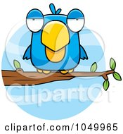 Royalty Free RF Clip Art Illustration Of A Perched Blue Bird