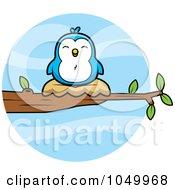 Royalty Free RF Clip Art Illustration Of A Nesting Blue Bird