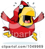 Royalty Free RF Clip Art Illustration Of A Red Cardinal Panicking by Cory Thoman