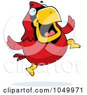 Royalty Free RF Clip Art Illustration Of A Red Cardinal Jumping by Cory Thoman