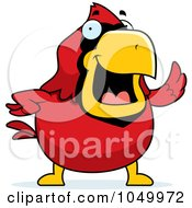 Royalty Free RF Clip Art Illustration Of A Red Cardinal Waving by Cory Thoman