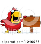 Royalty Free RF Clip Art Illustration Of A Red Cardinal With A Blank Sign by Cory Thoman