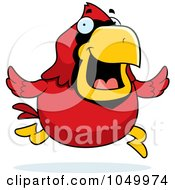 Royalty Free RF Clip Art Illustration Of A Red Cardinal Running by Cory Thoman