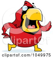 Royalty Free RF Clip Art Illustration Of A Red Cardinal Walking by Cory Thoman