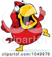 Royalty Free RF Clip Art Illustration Of A Red Cardinal Dancing by Cory Thoman