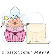Royalty Free RF Clip Art Illustration Of A Plump Fairy Godmother With A Blank Scroll