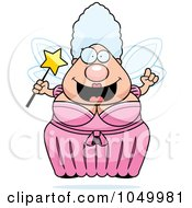 Royalty Free RF Clip Art Illustration Of A Plump Fairy Godmother With An Idea