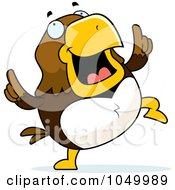 Royalty Free RF Clip Art Illustration Of A Hawk Doing A Happy Dance by Cory Thoman