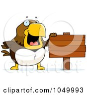 Royalty Free RF Clip Art Illustration Of A Hawk With A Blank Sign by Cory Thoman
