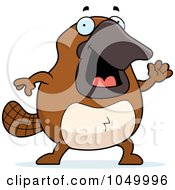 Royalty Free RF Clip Art Illustration Of A Platypus Waving by Cory Thoman